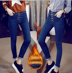 Korean winter plus velvet jeans female feet thick waist pencil pants with velvet warm outer wear long pants bottoming