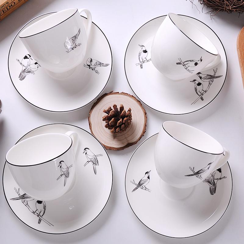 歐式骨瓷咖啡杯套裝白色複古簡約杯子帶勺 下午茶陶瓷杯碟濃縮
