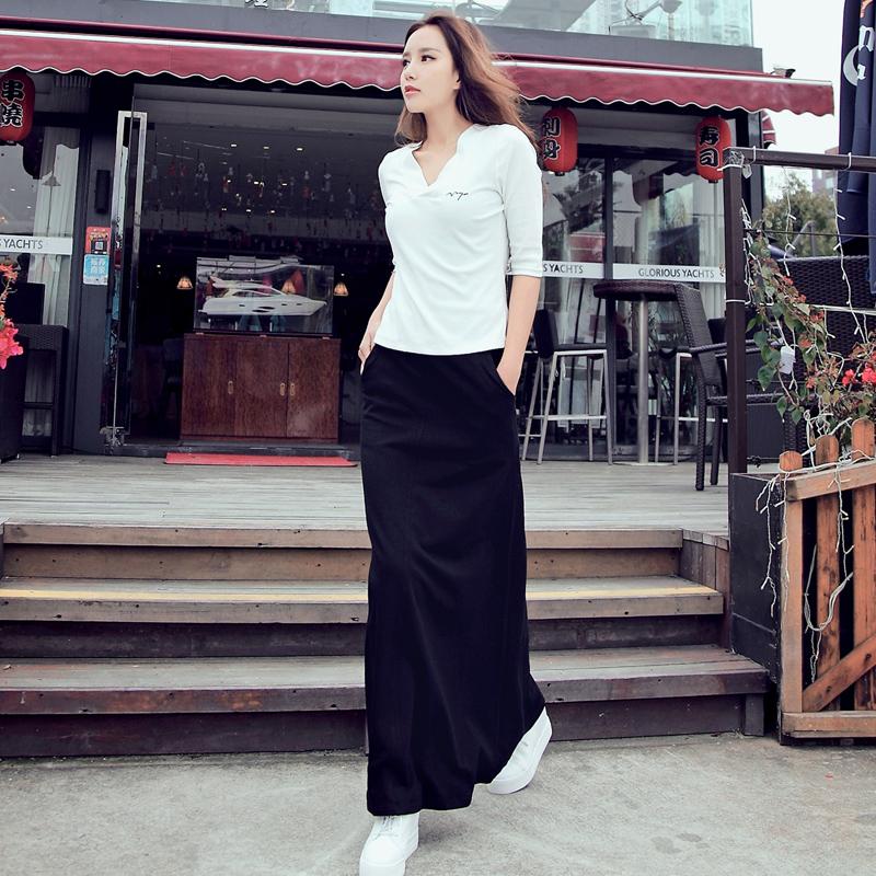 Рыба избыток 2017 корейский осень женщина новый тонкий V вывел белый T футболки мода установите юбка два рукава до пояса платье