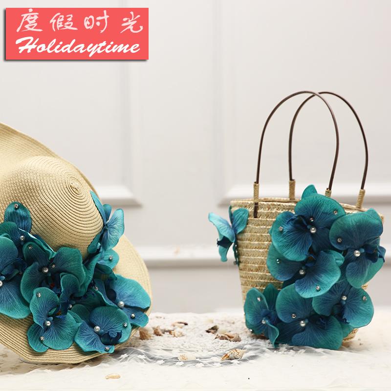 夏季手提手工花朵旅游度假海边女包
