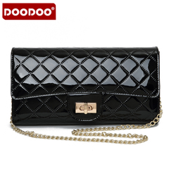 Doodoo leather shoulder clutch bag women European fashion chain clutch bag banquet handbag wallet rhombic packet
