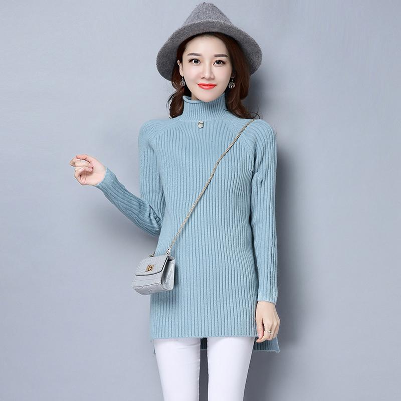 女士半高领中长款加厚针织衫毛衣