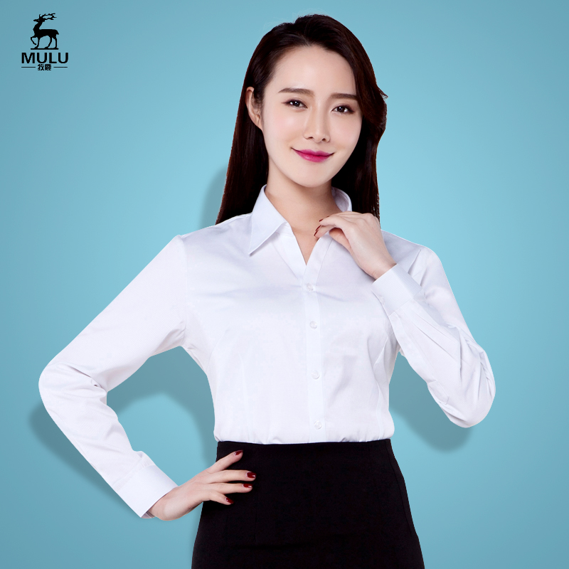 Spring and autumn womens business wear long sleeved shirt white tie ol Korean slim fitting work clothes shirt can be embroidered