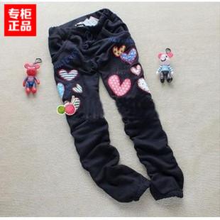 春秋季新品rough彩色桃心贴布刺绣休闲裤 运动裤 直筒裤 女裤