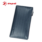 Bulk dapai leisure man long bi-fold zip wallet clutch bag leather multifunction card wallet handbags