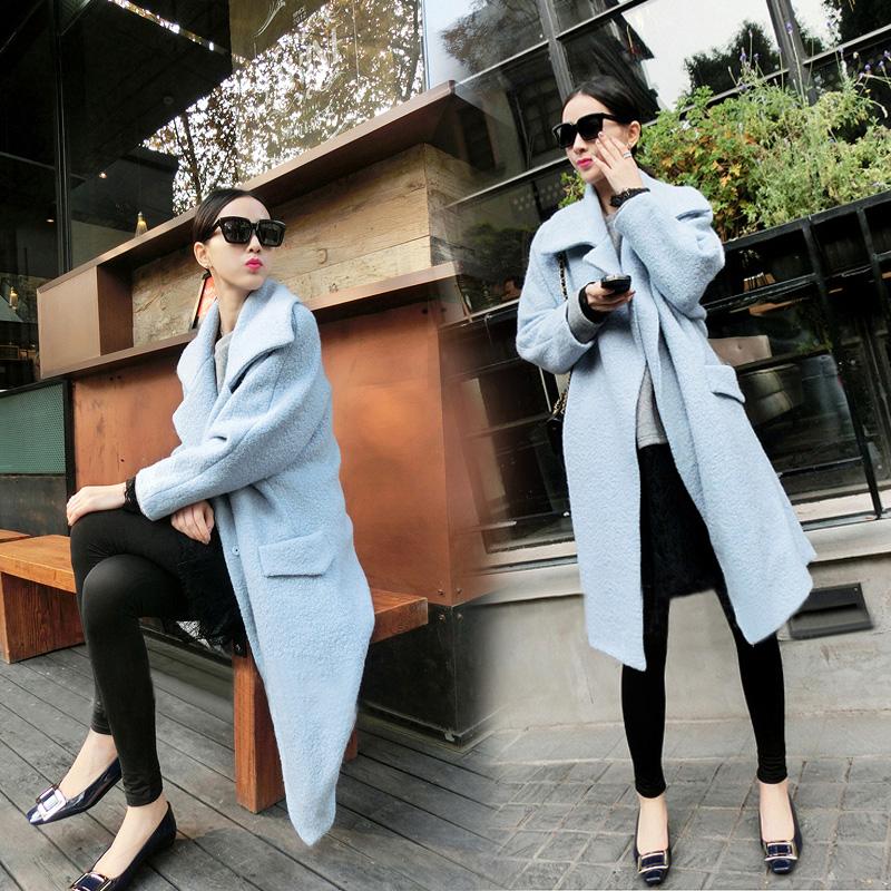 Корейский себя тонкий шерсти шерстяной ткани пальто женский новый осень и зимнее снаряжение и длинные толстые шерстяные пальто женщин