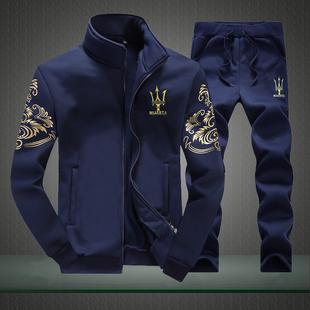 男士运动2017春秋季新款韩版加厚外套装男青少年休闲加绒卫衣男装