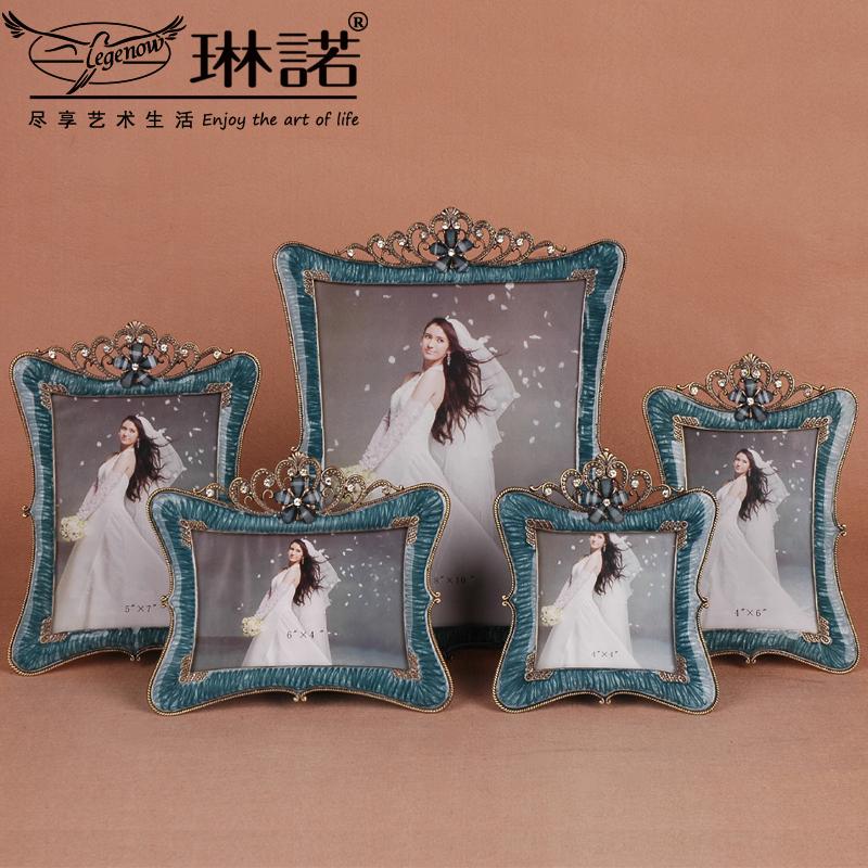 歐式影樓婚紗照相框擺台 4 6 7 10寸韓式金屬照片像框結婚