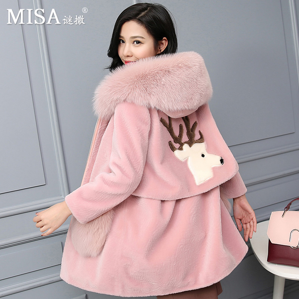 Haining Yang Jianrong mystery sprinkled winter coat female fox fur hooded slim wool fur coat Girls long paragraph 2016
