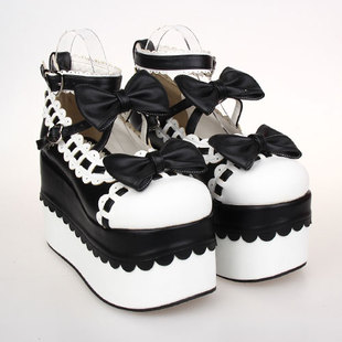 Japanese soft sister LOLITA heavy bottomed platform shoes shoes palace Tingluolita lace bow Princess shoes 9896