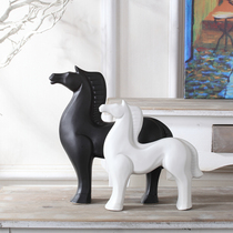 Nordic Modern home decoration simple ceramic crafts horse decoration living room TV cabinet wine cabinet new house furnishings