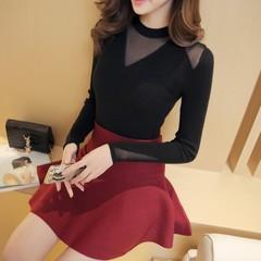2017韩版网纱打底衫女套头短款修身圆领毛衣长袖蕾丝针织衫 P69