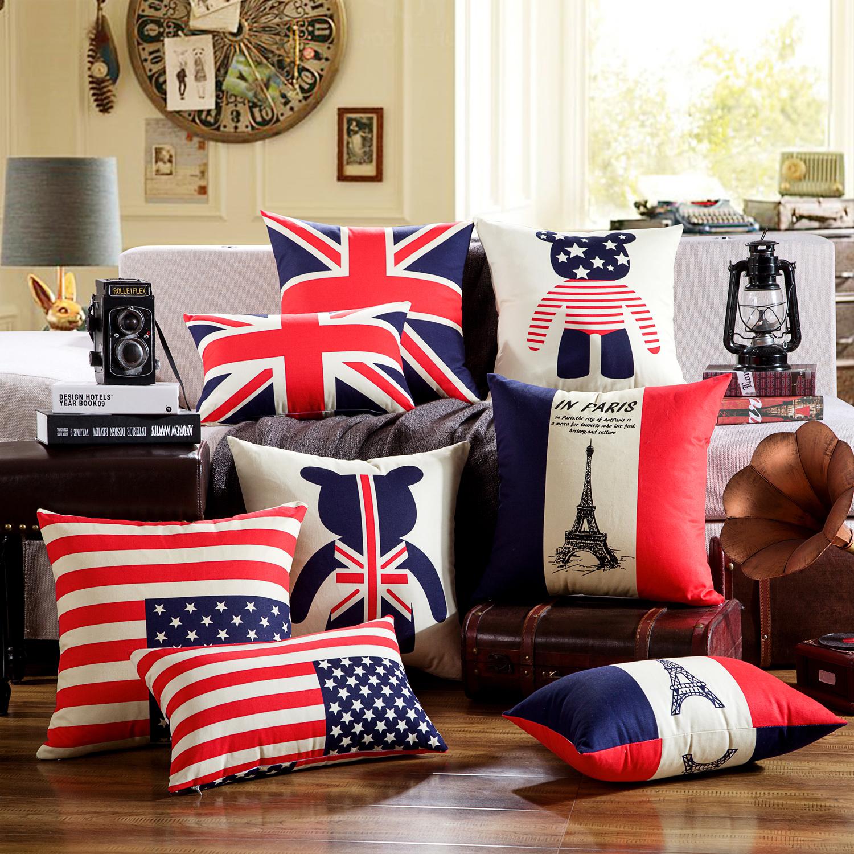 纯棉双面靠枕国旗米字旗美式沙发抱枕靠垫家用套不含芯英伦风客厅