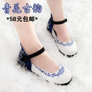 Rhyme spring and summer blue and white national wind Melaleuca increased within a single shoe Women's Shoes old Beijing cloth shoes embroidered shoes