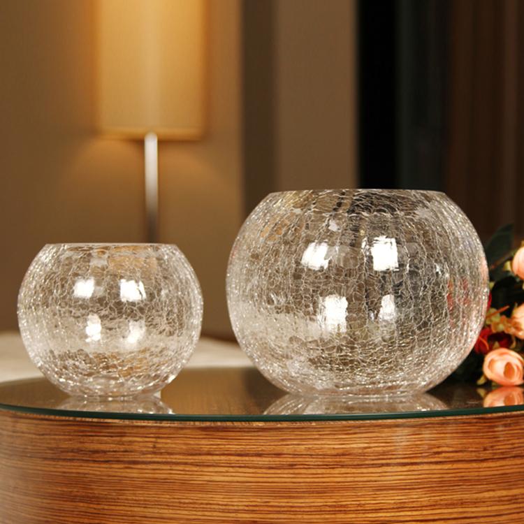 簡約透明玻璃水培花瓶圓球綠蘿烏龜金魚缸客廳裝飾品插花器擺件
