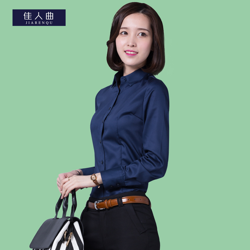 High end mercerized cotton shirt womens long sleeve business professional dress commuting cotton large size slim solid color shirt
