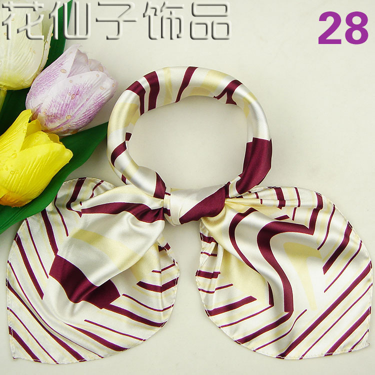 Professional scarves bank etiquette staff wear scarves silk small square scarves yellow stripe 28
