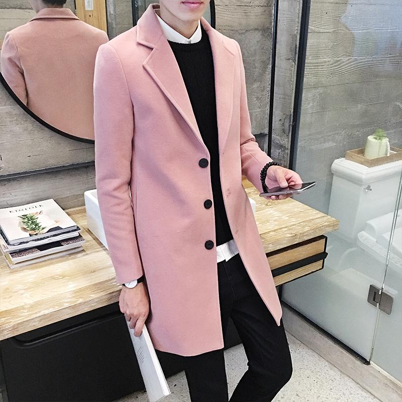 Сплошной цвет осенью и зимой в корейской версии тонкий однобортный шерстяной ткани пальто ЧАО молодой шерстяное пальто длинные Тренч Пальто