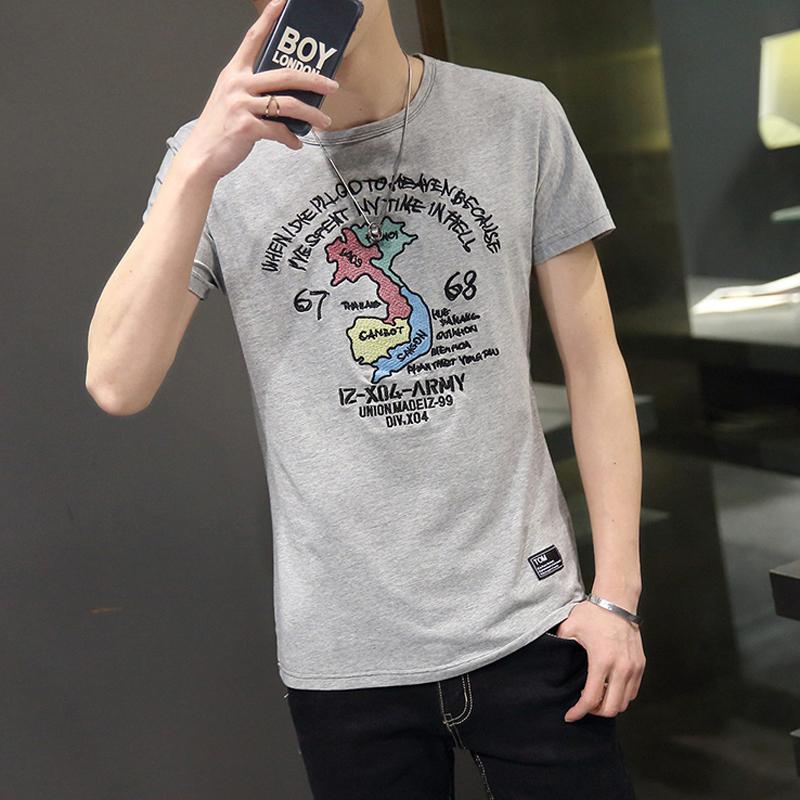 潮男t恤男士短袖 圓領半袖體恤衫 青少年T血學生印花日係男裝