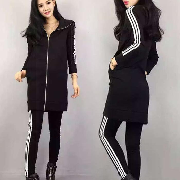 Европа 2015 осень моды женщин новый длинный жакет с капюшоном длинный рукав в случайных спортивной брюки 2 частей комплекта