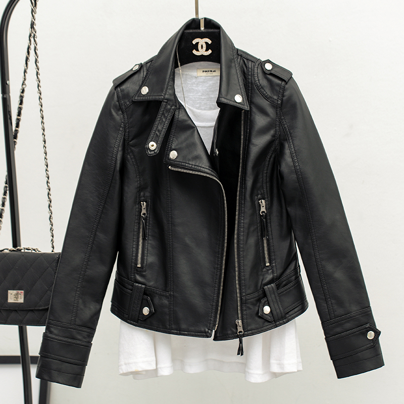 2016 весной новой корейской версии тощий лацкане женщин обрезанное мало куртка женщин Пу кожа куртка мотоцикл одежда дамы