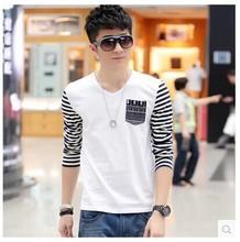 2016新款秋装韩版修身长袖t恤男 男式V领纯棉拼接条纹长袖T恤
