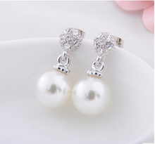 Han edition fashion new Pearl diamond earrings The wedding the bride No ear pierced ear clip