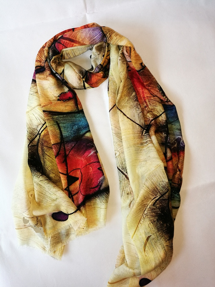 Luxury quality pure cashmere womens scarf / Cape soft colorful abstract graffiti Retro