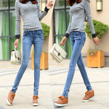 In item 2015 in the spring and autumn female waist jeans Show thin trousers Little pencil pants Special light blue jeans