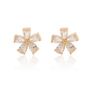 Love micro-zircon inlaid openwork female Korean temperament rose flower earrings earrings fashion jewelry earrings