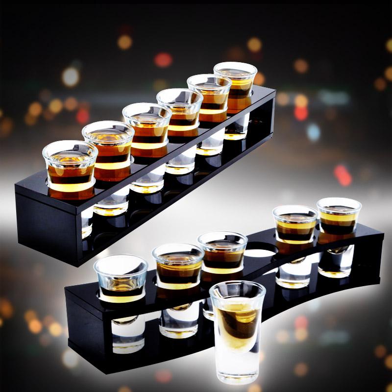 子弹杯鸡尾酒杯b52吞杯木杯架套装小烈酒杯玻璃杯白酒杯套装包邮