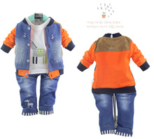 The new 2015 autumn wear children's wear boys long sleeve 0-1-2-3 - year - old three-piece suit baby infant clothes