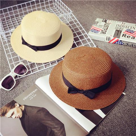 夏天韩版小礼帽子潮女英伦草帽 小辣椒蝴蝶结平顶遮太阳沙滩帽子