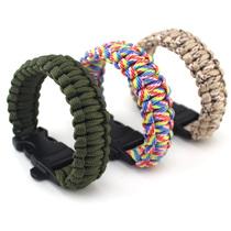户外应急装备求生七芯伞绳手链手工编织救生手环带救生口哨