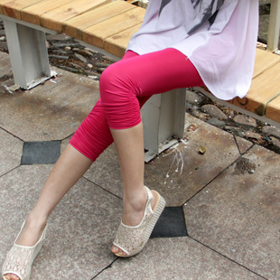 Summer Girls Korean silk luster high waist pants bottoming thin tight pant summer thin section feet pants leggings