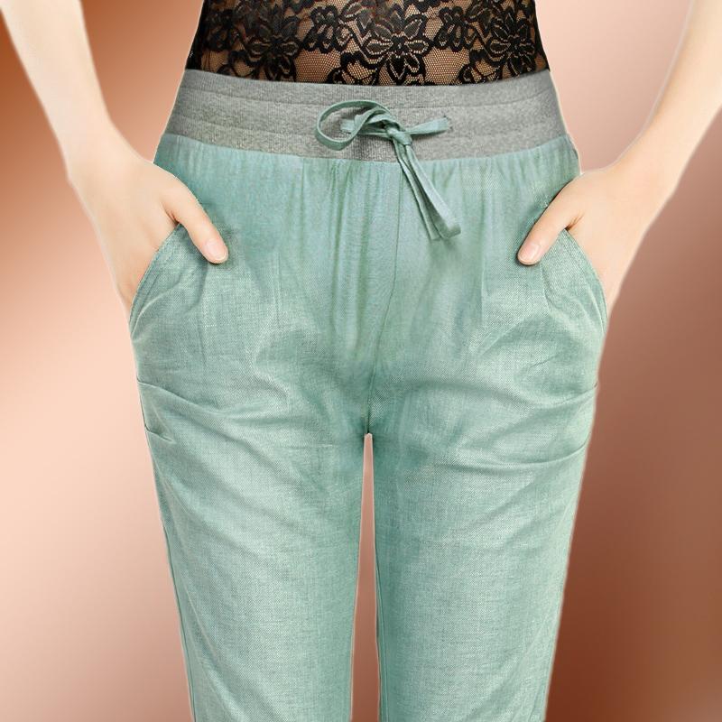 Леггинсы лето Купированные гарем штаны XL корейской версии тонкие льняные брюки тонкий высокой талией платья тонкие