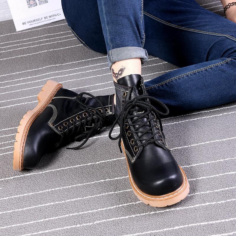 秋冬真皮牛仔靴潮流短靴防水马丁靴男靴女工装靴女靴军靴保暖女鞋