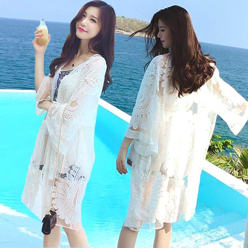 Приморский солнцезащитный крем мантильи праздник пирсинг кружево кардиган пальто длинная модель иностранных взять песчаный пляж бикини рабочий халат юбка