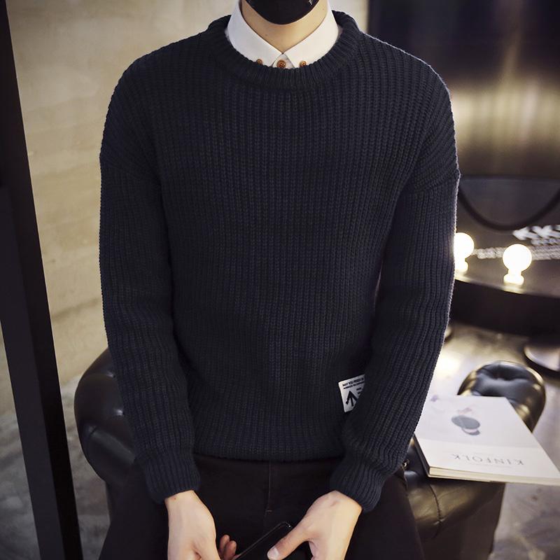 2016 針織衫圓領毛衣男士 青少年套頭毛線衣外套 加厚潮