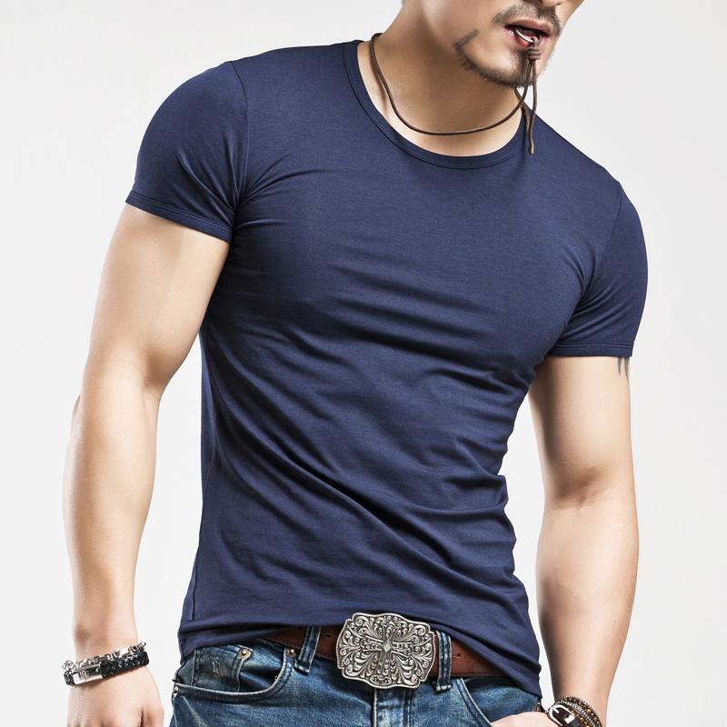 銘勵 男士打底衫純色圓領短袖t恤 白色 緊身T恤 男裝健身衣