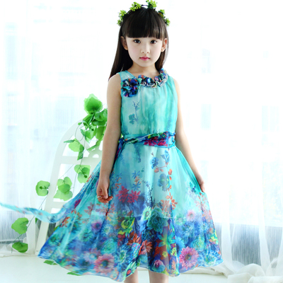Han edition 3 children 4 children summer 2015 new 6 five girls dress skirt 7 8 summer princess dress tide 10 years old