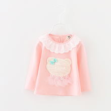 In the spring and autumn outfit new cotton baby 0-1-2-3 years old and a half of the girls render unlined upper garment jacket female baby long long sleeve T-shirt