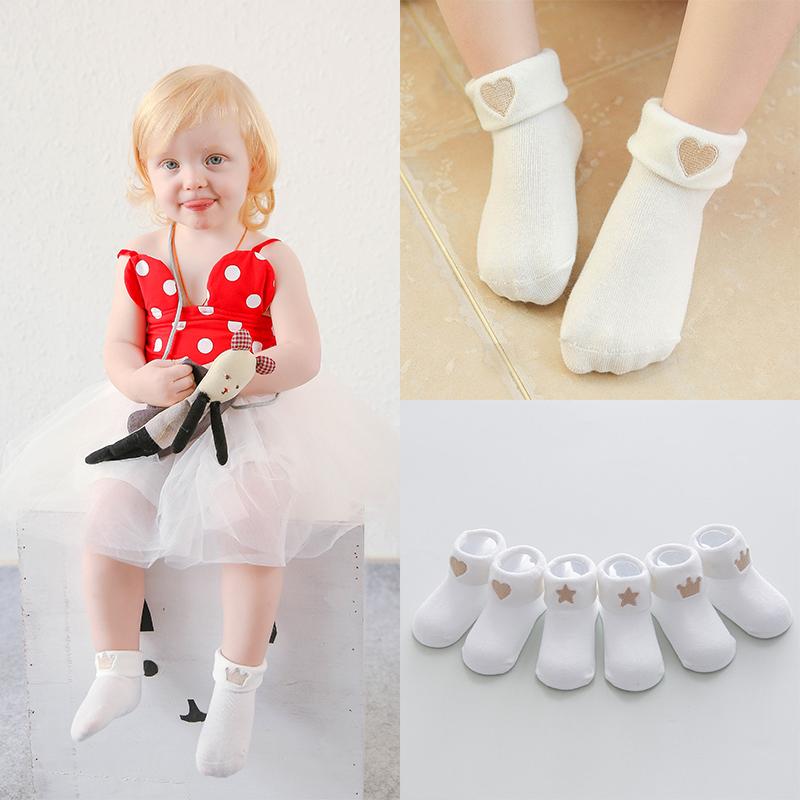 3双婴儿袜子 0-6-12个月纯刺绣翻边无骨宝宝棉袜子 新生儿童短袜