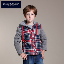 Qiao le, Cherokee, warm winter new boy grid hoodies American leisure garments 627072