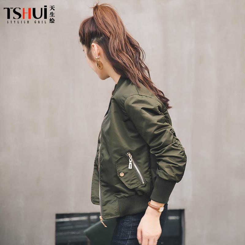2018春装新款军绿色短外套棒球服女韩版宽松大码飞行员夹克外套女