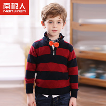 NGGGN children cotton sweaters qiu dong boy when high collar zipper striped sweater knit autumn outfit new tide