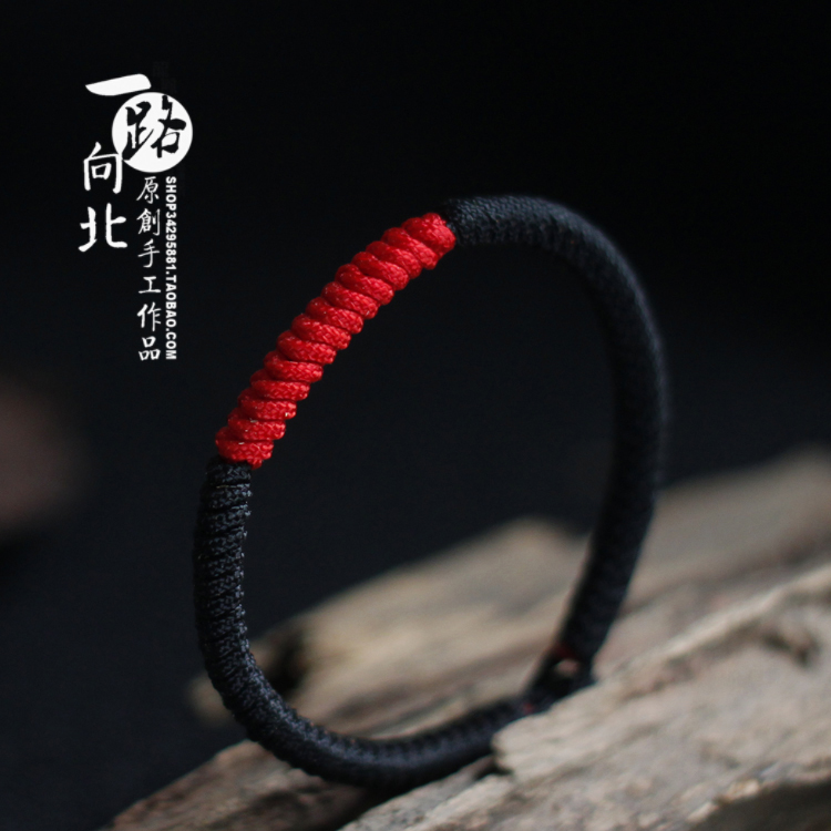 Hand made Kaiguang diamond knot moon old black rope year of the ox transport red rope bracelet for men and women