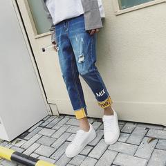 夏季九分裤字母印花潮裤子青少年男士牛仔裤帅气百搭款A146P68