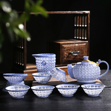 The new 2015 pure manual weaving exquisite tea package Purple hollow out tea kungfu tea set special package mail
