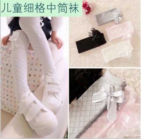 儿童女童纯棉春秋格子白色中筒袜套